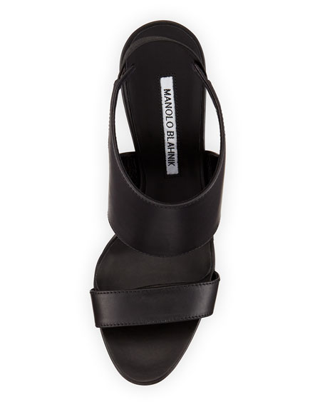 Loyal Patent High-Cut Sandal, Black
