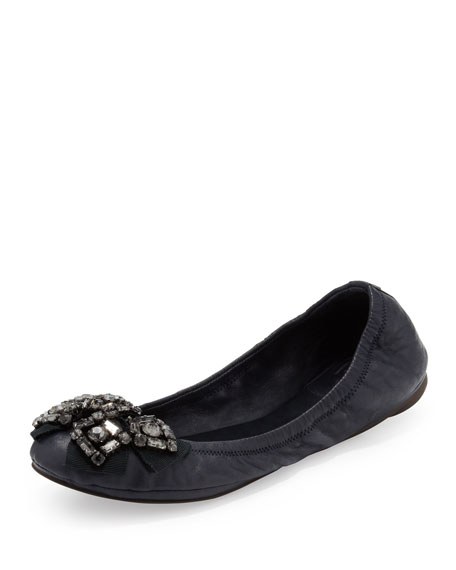 Azalea Crystal-Bow Scrunch Flat, Navy