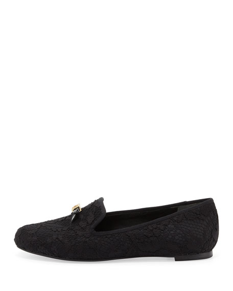 Chandra Lace Bow Loafer, Black