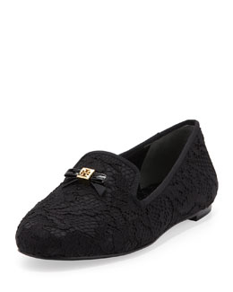 Tory Burch Chandra Lace Bow Loafer, Black