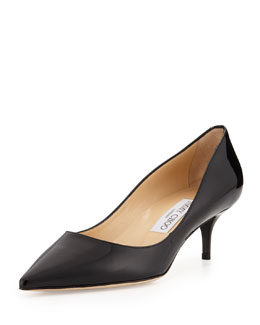 Jimmy Choo Aza Low-Heel Patent Pump, Black