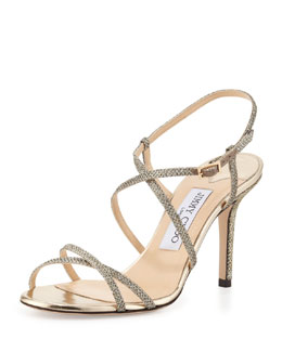 Jimmy Choo Elaine Strappy Glitter Sandal, Light Bronze