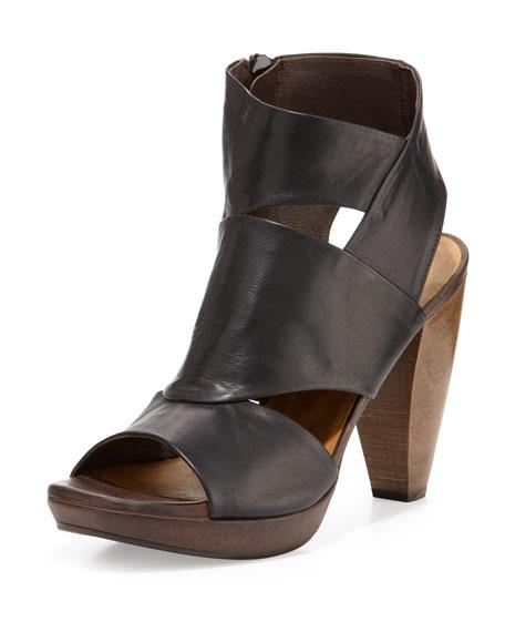 Fabiana Leather Cutout Bootie, Black