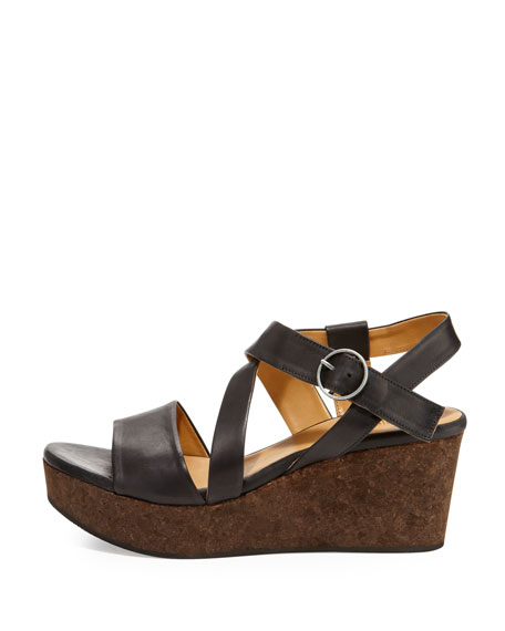 Mel Strappy Cork Wedge Sandal, Black