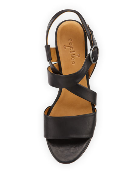 Mel Strappy Cork Wedge Sandal, Black