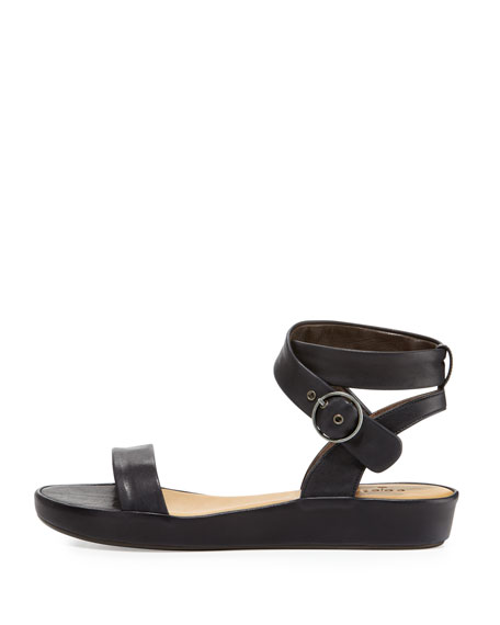 Ramsey Leather Ankle-Wrap Sandal, Coal