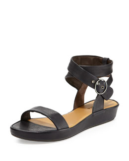 Coclico Ramsey Leather Ankle-Wrap Sandal, Coal