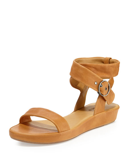 Ramsey Leather Ankle-Wrap Sandal, Cuoio
