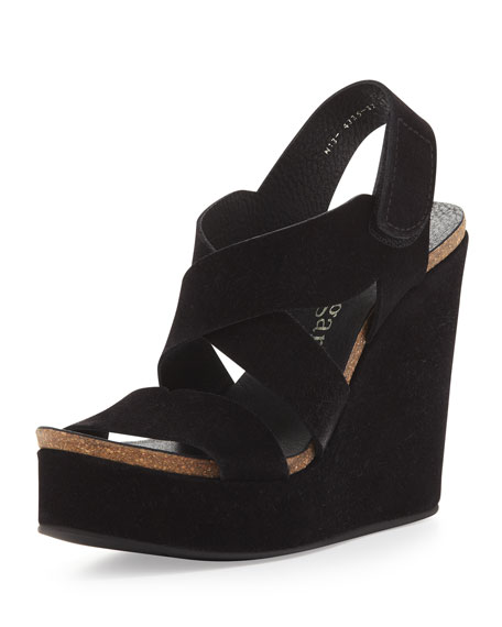 Trina 110mm Strappy Wedge Sandal, Black