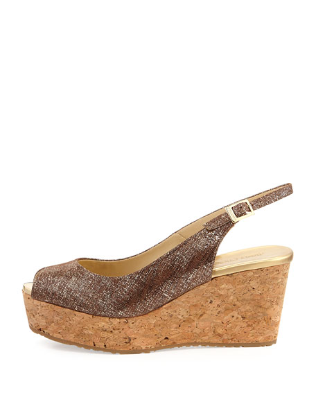 Praise Metallic Leather Peep-Toe Wedge