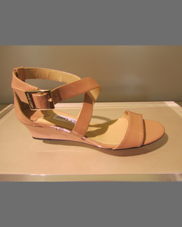 Jimmy Choo Chiara Demi-Wedge Crisscross Sandal, Blush