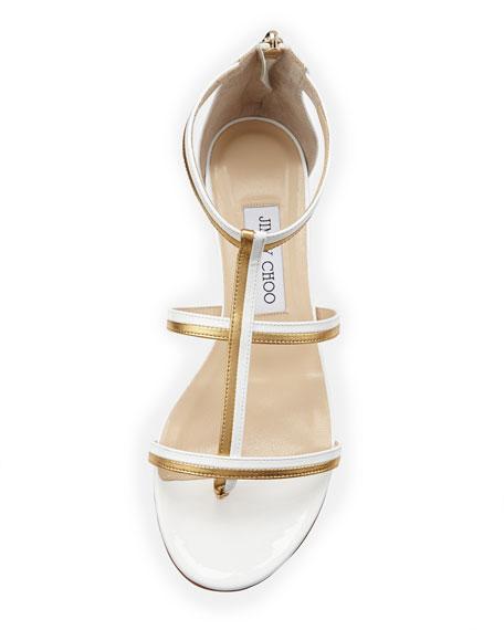 Tabitha Flat Thong Sandal, White/Gold
