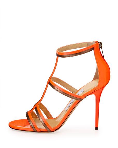 Thistle Patent & Metallic Sandal, Flame