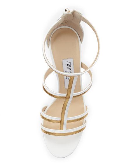 Thistle Patent & Metallic Sandal, White/Gold