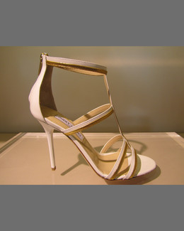 Jimmy Choo Thistle Patent & Metallic Sandal, White/Gold