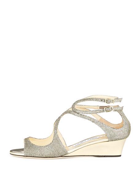Inka Glitter Demi-Wedge Sandal, Bronze