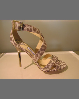 Jimmy Choo Lottie Leopard-Print Metallic Sandal, Gold