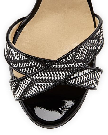 Lottie Woven Crisscross Sandal, Black/White