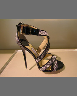 Jimmy Choo Lottie Woven Crisscross Sandal, Black/White
