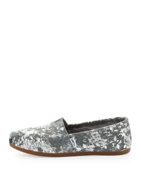 Grary Metallic Flat Slip-Ons, Gray