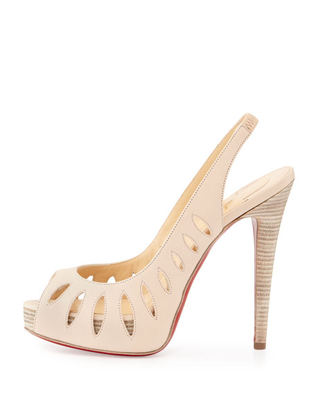 Cutout Red Sole Slingback Sandal, Nude