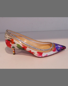 Christian Louboutin Paulina Red-Sole Satin PVC-Trim Kitten-Heel Pump, Multi