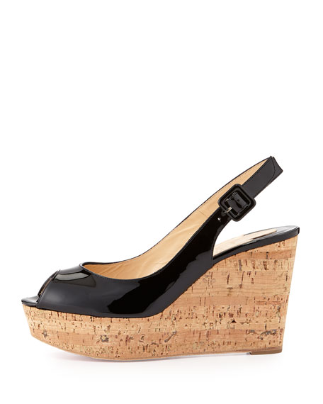 Patent Peep-Toe Red Sole Slingback, Black