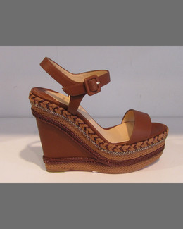Christian Louboutin Braided Platform Wedge Sandal, Cognac