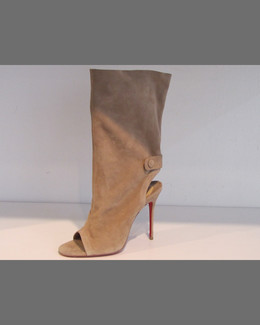 Christian Louboutin Suede Mid-Calf Red Sole Boot, Beige