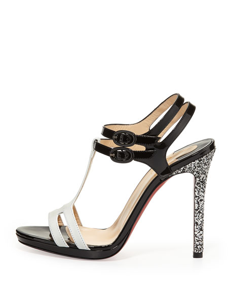 Double Tutti Patent Red Sole Sandal, White/Black