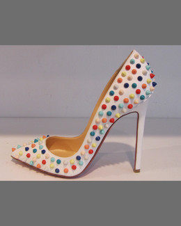 Christian Louboutin Pigalle Spikes Red Sole Pump, White Multi