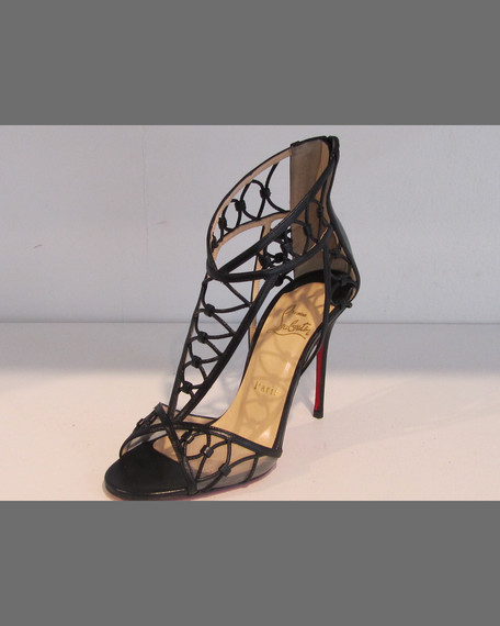 Martha Lattice Red Sole Sandal, Black