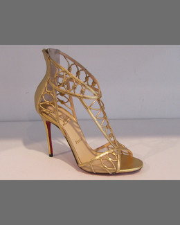 Christian Louboutin Martha Metallic Napa Red-Sole Sandal, Gold