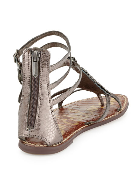Ginger Beaded Metallic Gladiator Sandal, Pewter