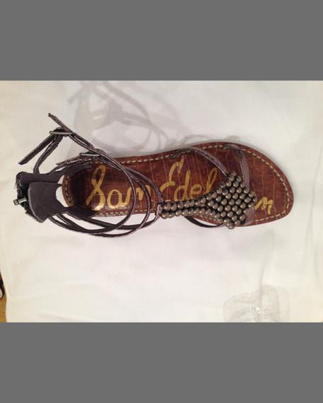 Sam Edelman Ginger Beaded Metallic Gladiator Sandal, Pewter