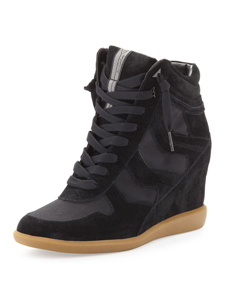Bennett Suede Hidden Wedge Sneaker, Black