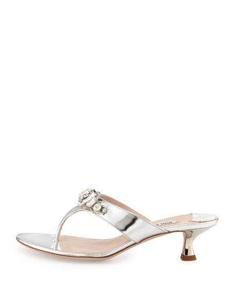 Miu Miu Crystal Kitten-Heel Thong Sandal