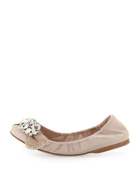 Patent Crystal-Bow Scrunch Flat
