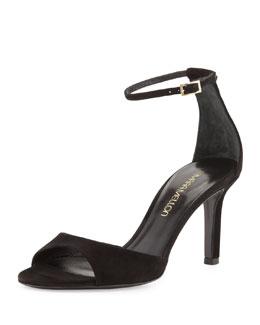 Tamara Mellon Suede Mid-Heel Ankle-Wrap Sandal