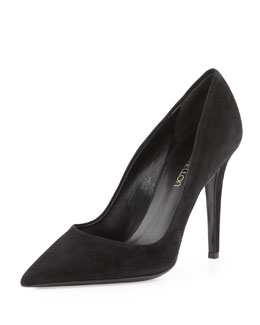 Tamara Mellon Suede Point-Toe Pump, Black