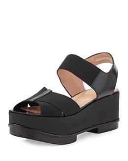 Robert Clergerie Crisscross Stretch Flatform Sandal