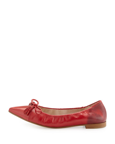 Point-Toe Leather Ballet Flat, Lacca