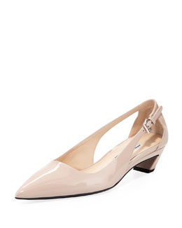 Prada Vernice Pointed-Toe Cutout Pump, Cipria