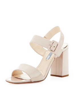 Prada Patent Leather Block Heel Sandal, Cipria