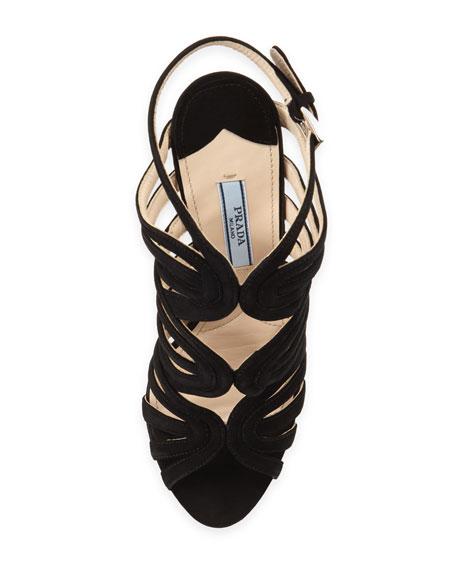 Suede Loop-Strap Platform Sandal, Black