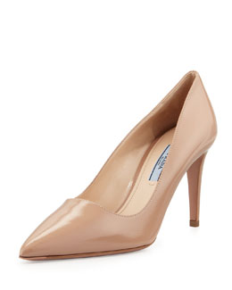 Prada Patent Saffiano Point-Toe Pump, Cammeo