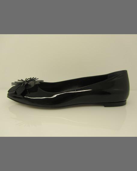 Patent Flower Ballerina Flat, Black