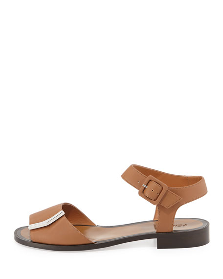 Leather Logo-Bar Flat Sandal