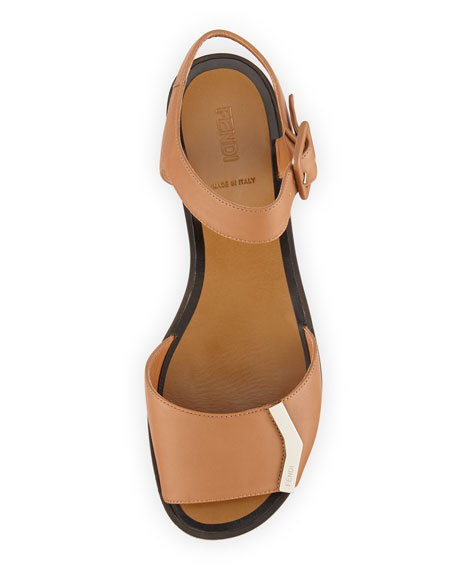 Leather Logo-Bar Flat Sandal