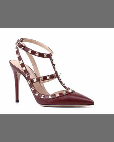 Rockstud Leather Slingback Sandal, Chocolate